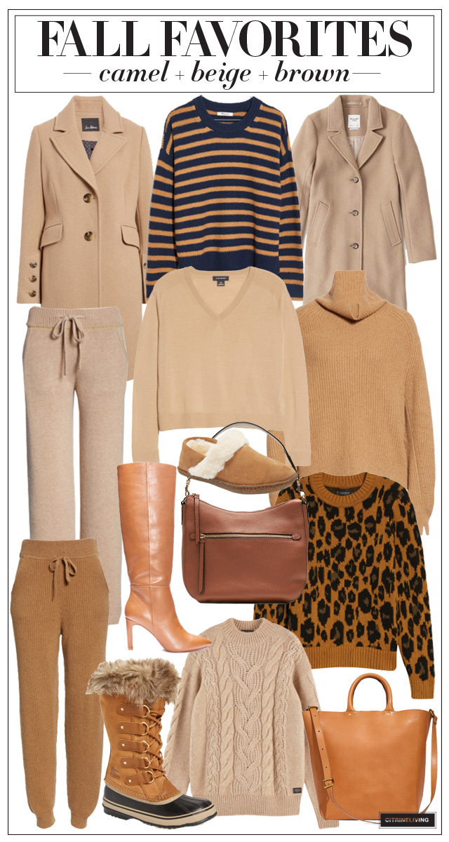Fall Fashion Faves in camel, beige and brown!