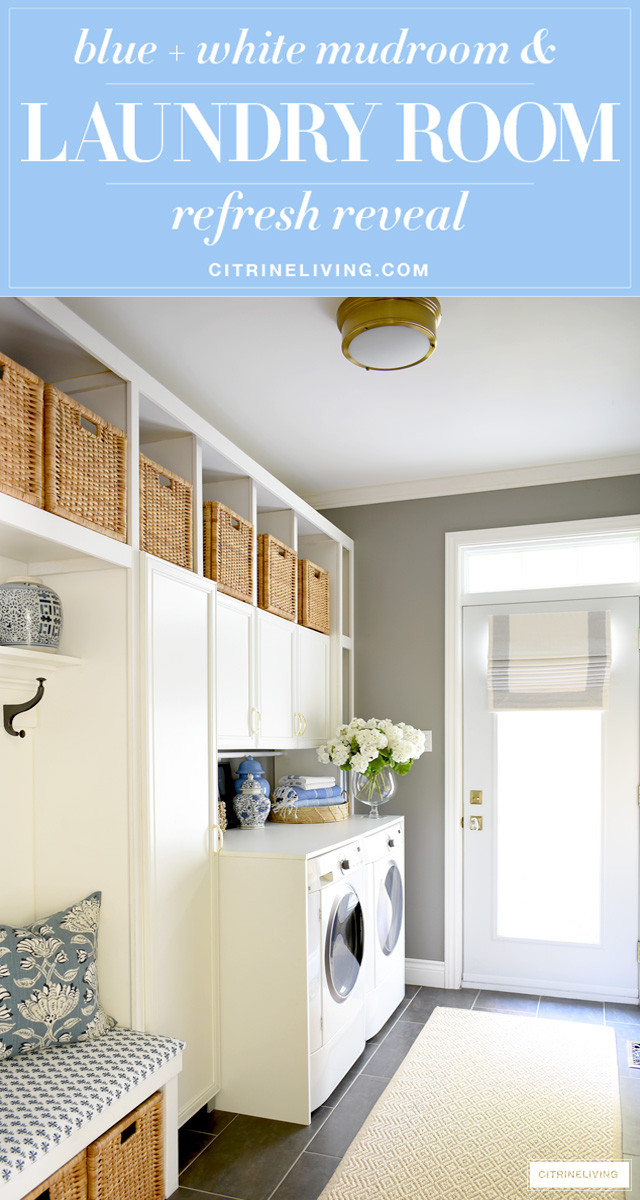 Mudroom + laundry room with a coastal look - woven baskets and builtin cupboards for much needed storage, blue and white decor accents and fabric prints are fresh and crisp!
