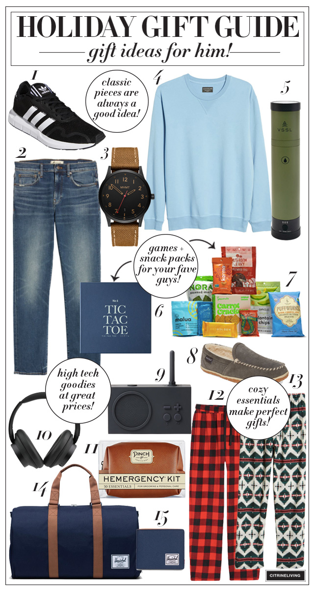 Gadgets, fashion, games and essential holiday gift ideas all for your favorite guys!