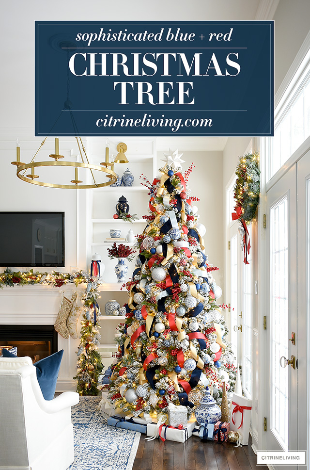 Gorgeous blue and red Christmas tree is a sophisticated and classic look!