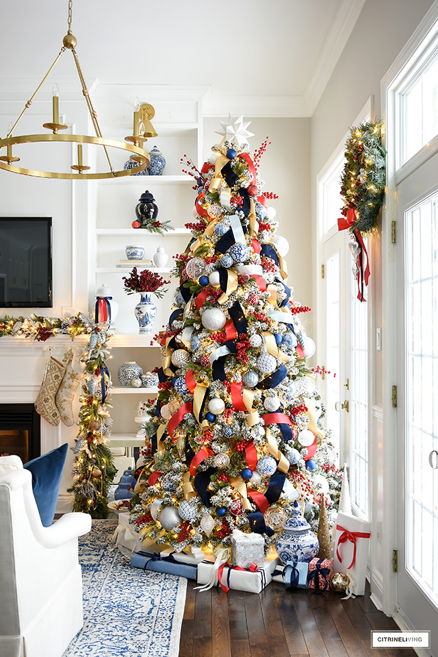 Elegant and sophisticated, this blue and red Christmas tree is a gorgeous take on holiday decorating.