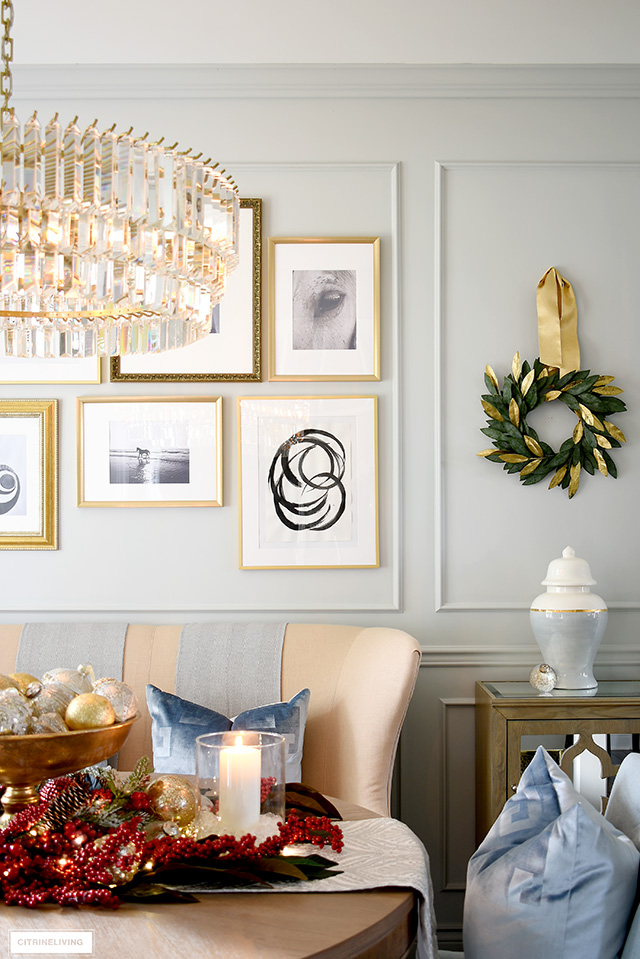 Add a simple wreath hung with gorgeous ribbon in place of artwork for an elegant holiday look.