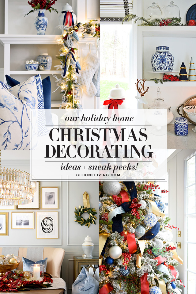 Christmas decorating ideas in blue, white and red! Add this classic color combination to your holiday home!