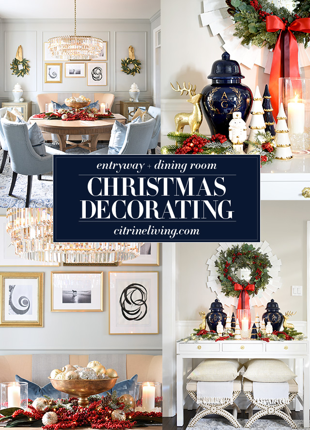 Beautiful Christmas decorating ideas for your entryway and dining room.