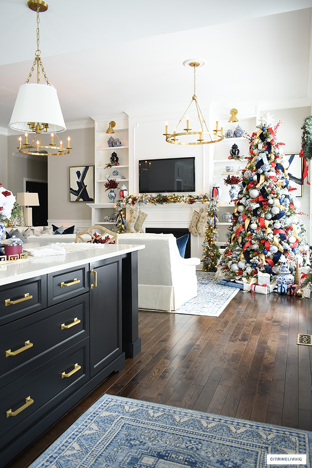 Christmas home decor in blue, white, red and gold.