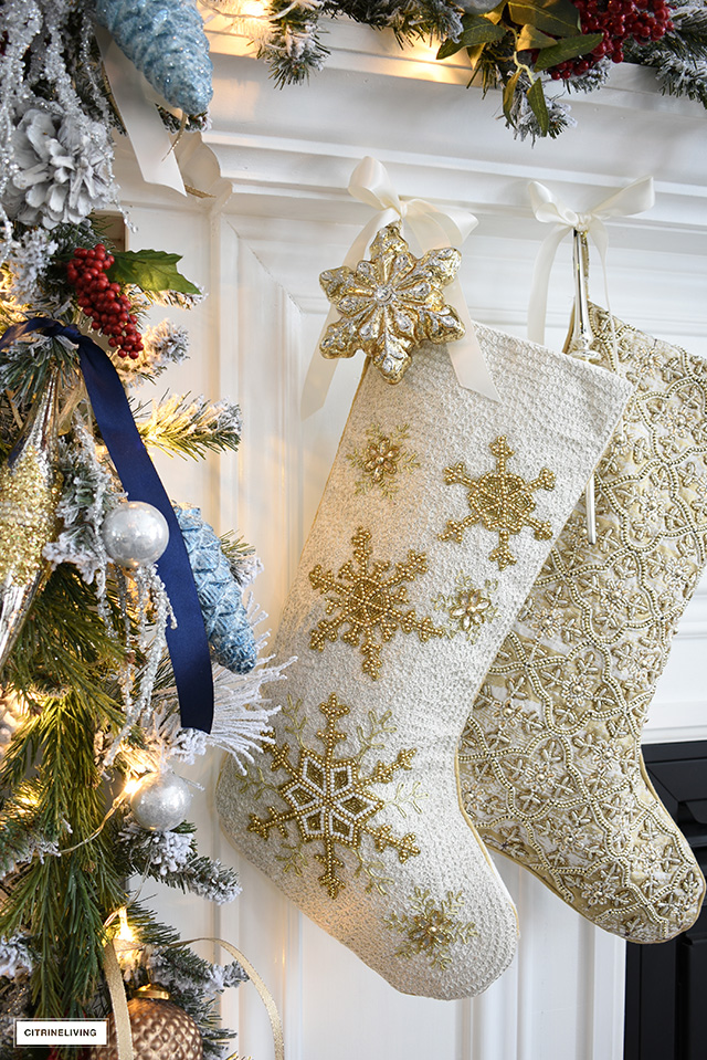 Beautifully embellished beaded Christmas stockings.
