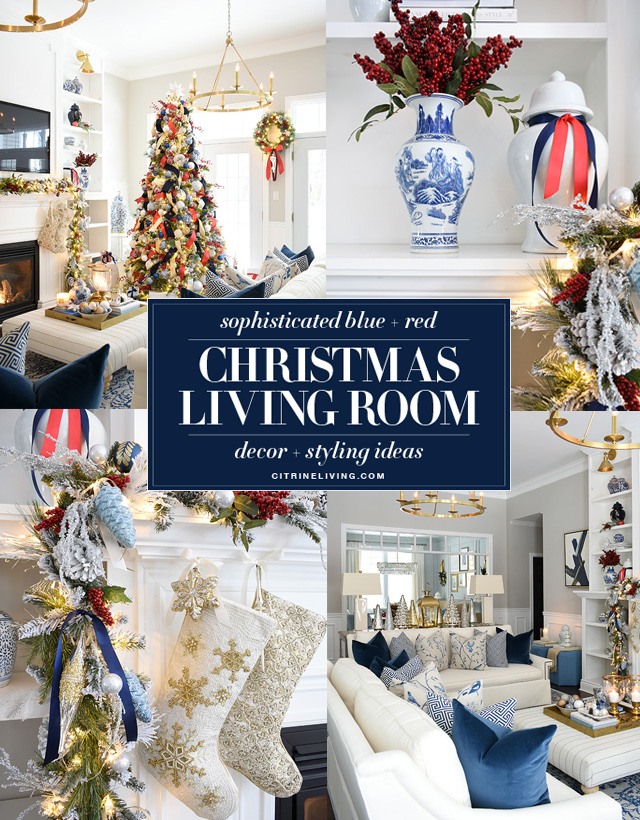 Christmas decorating ideas with blue and white and red accents.
