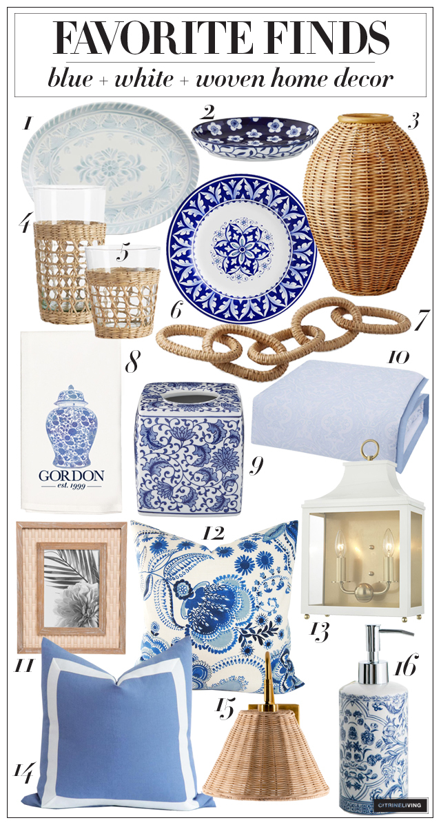 Blue, white and woven home decor accessories and dishware
