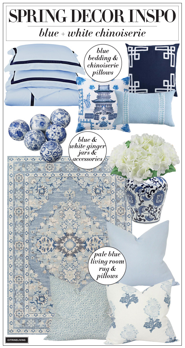 Spring decorating ideas + inspiration in blue and white!