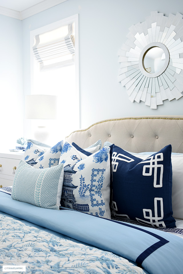 Gorgeous and luxe Paloma Living chinoiserie pillows are an elegant and sophisticated addition for spring.