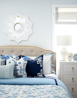 Spring bedroom decor in layers of blue and white chinoiserie chic stye!