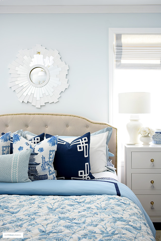 Elegant and chic blue and white bedding for spring!