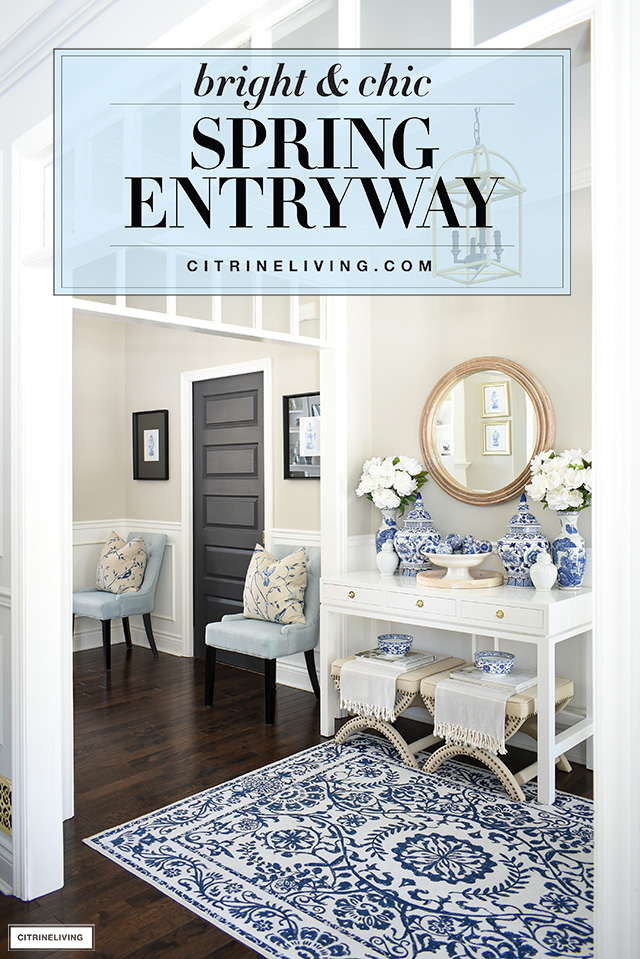 Spring entryway decor with a bright and chic look in blue and white chinoiserie, accented with wood and natural touches.