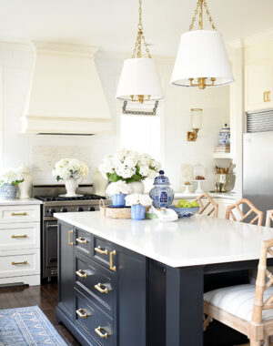 Blue and white spring decorated kitchen