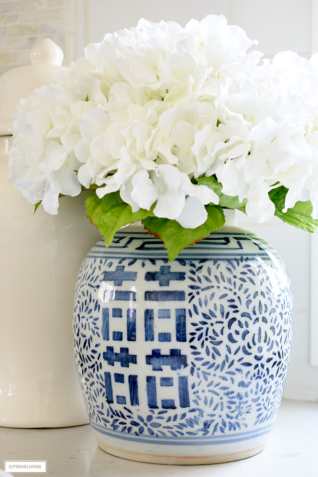 Ginger jar with faux hydrangeas for spring.