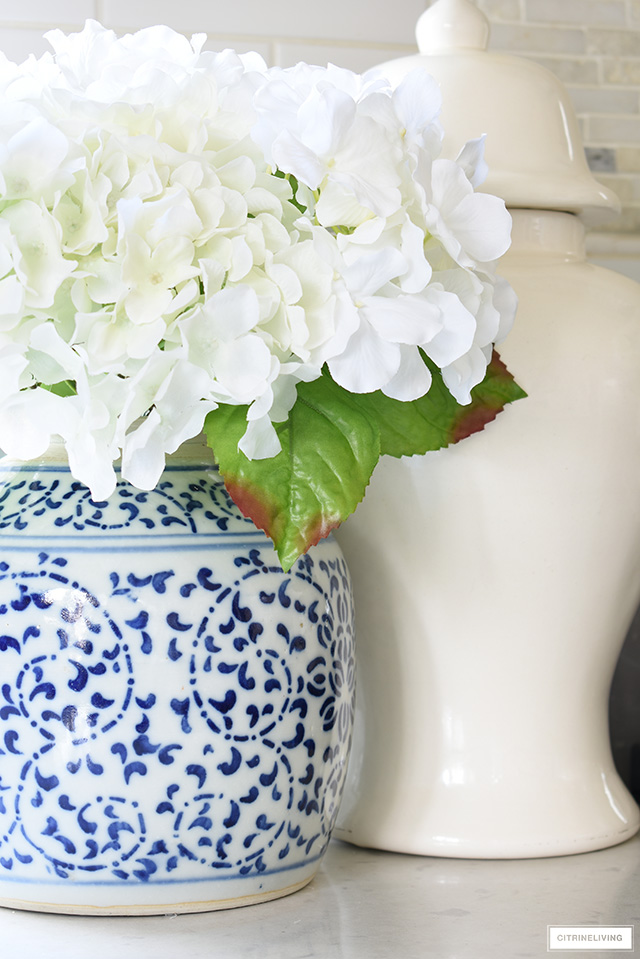 Ginger jar with faux florals.