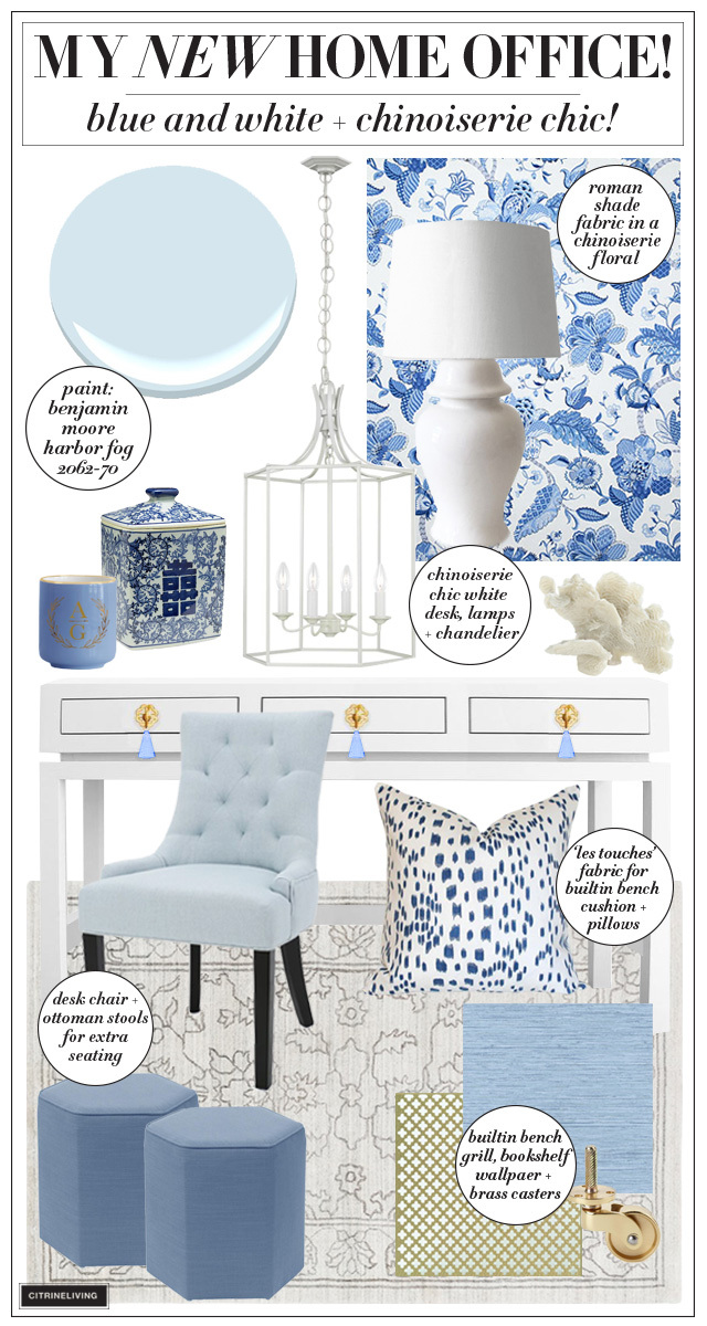 Home office design plans in blue and white chinoiserie chic style!