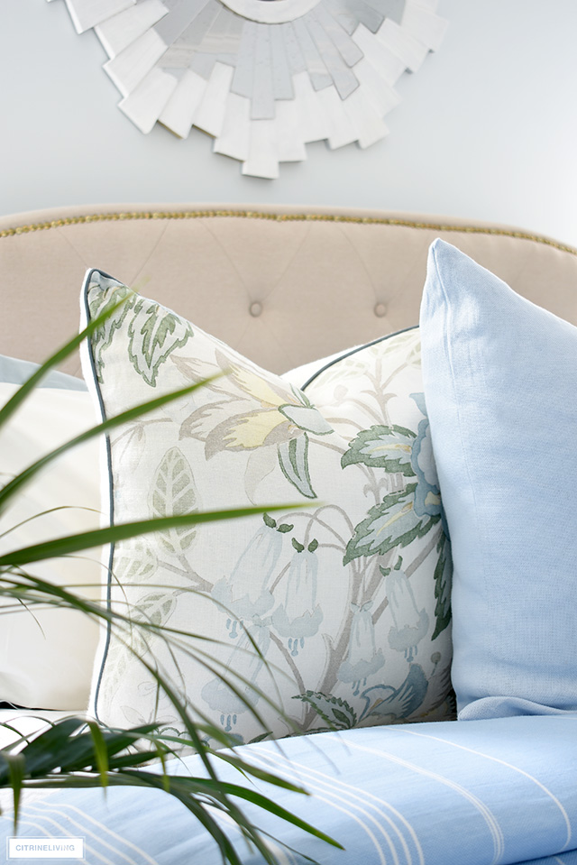 Gorgeous summer throw pillows with soft blues and greens.