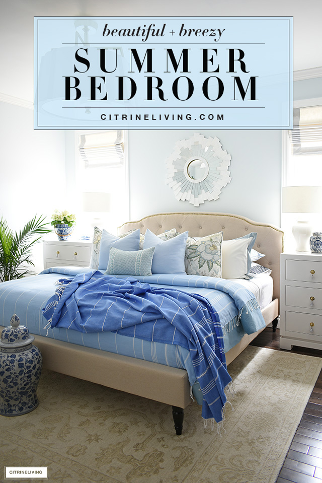Summer bedroom decorating ideas with gorgeous blues and touches of green.