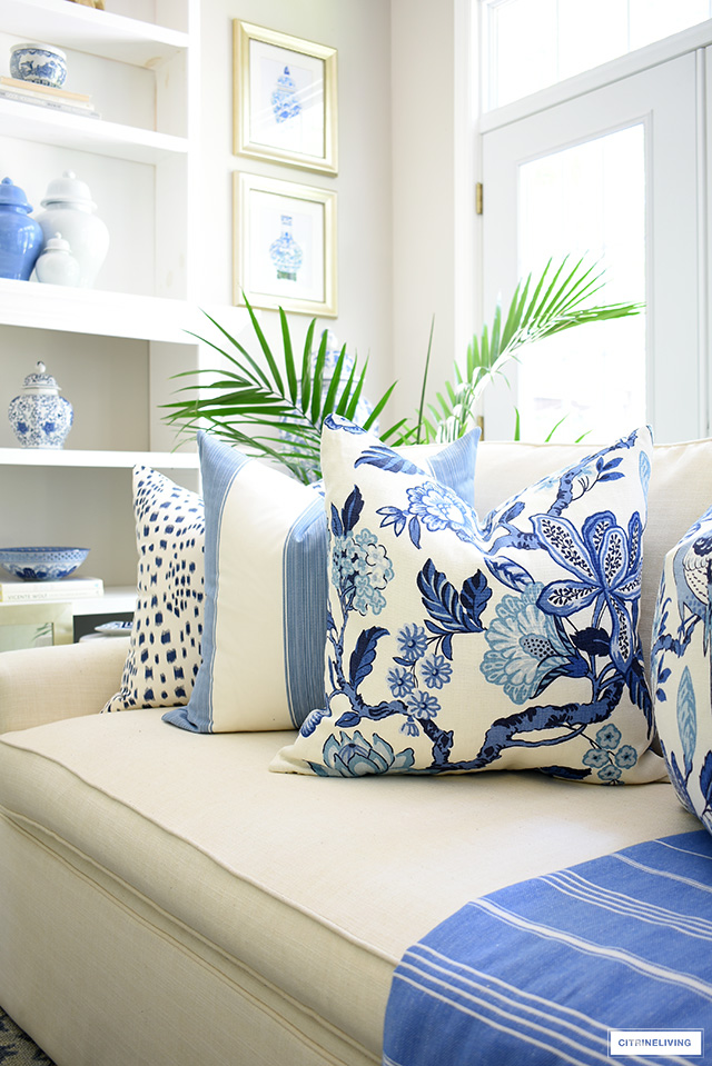 Huntington Gardens pillow by Schumacher is the perfect summer accessory.