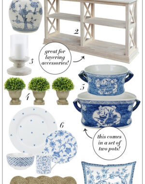 Blue and white home decor finds