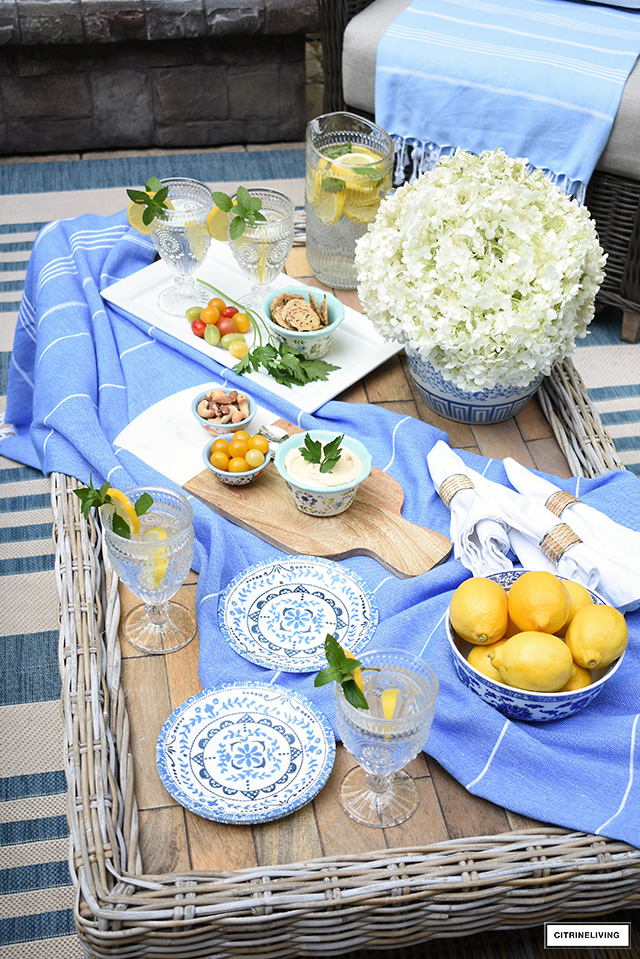 Patio entertaining table setting for casual and elegant dining.