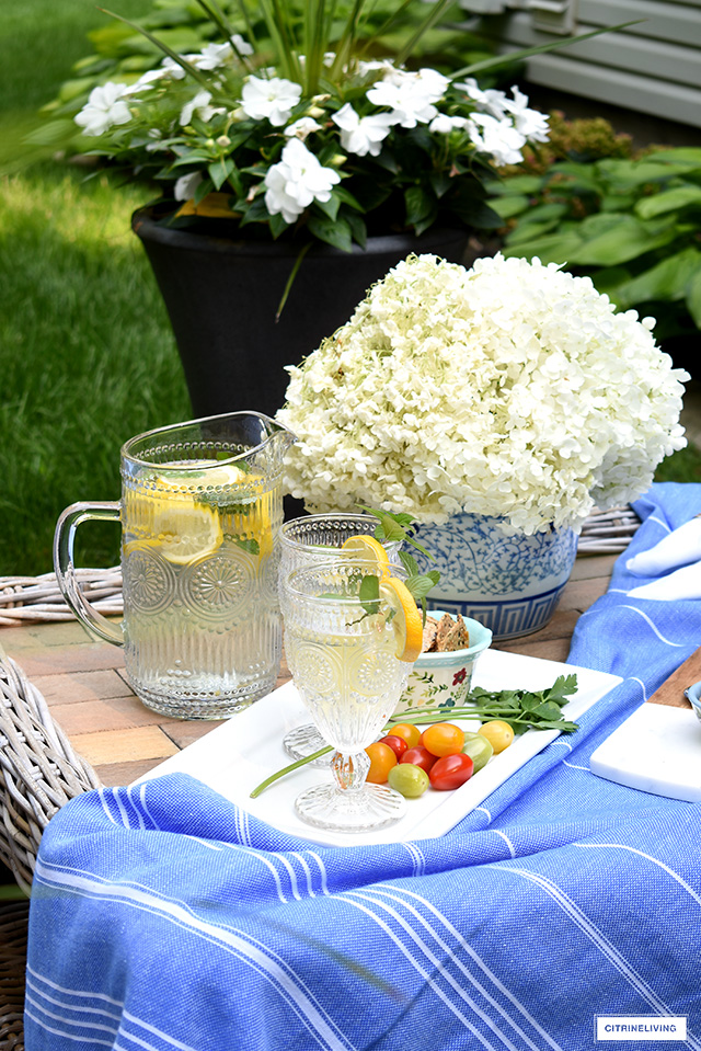 Vintage inspired pitcher and goblets styled for summer entertaining outdoors.