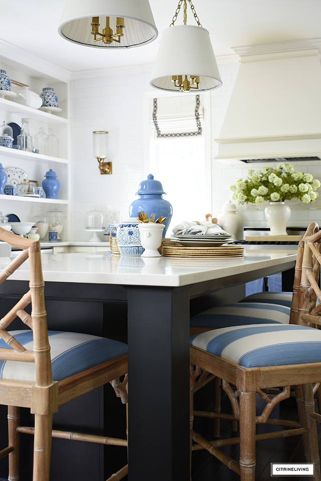 Kitchen island details - A vignette with blue and white accents styled for summer.