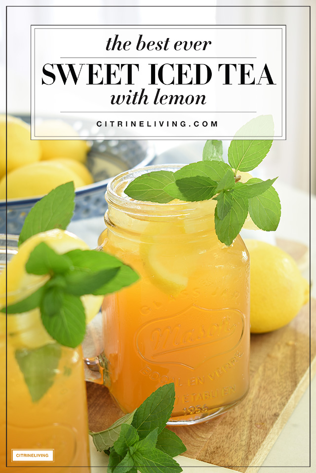 Delicious and easy sweet iced tea with lemon recipe - the best you'll ever have!