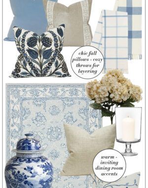 Fall decorating inspiration in blue and neutral