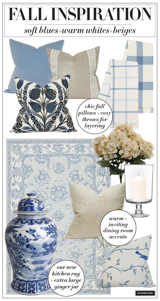 Fall decorating inspiration in blues and neutrals + chinoiserie chic!