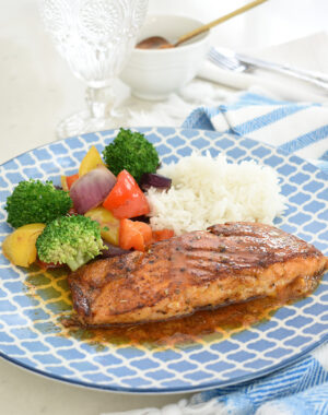 Delicious pan fried salmon with honey chili butter