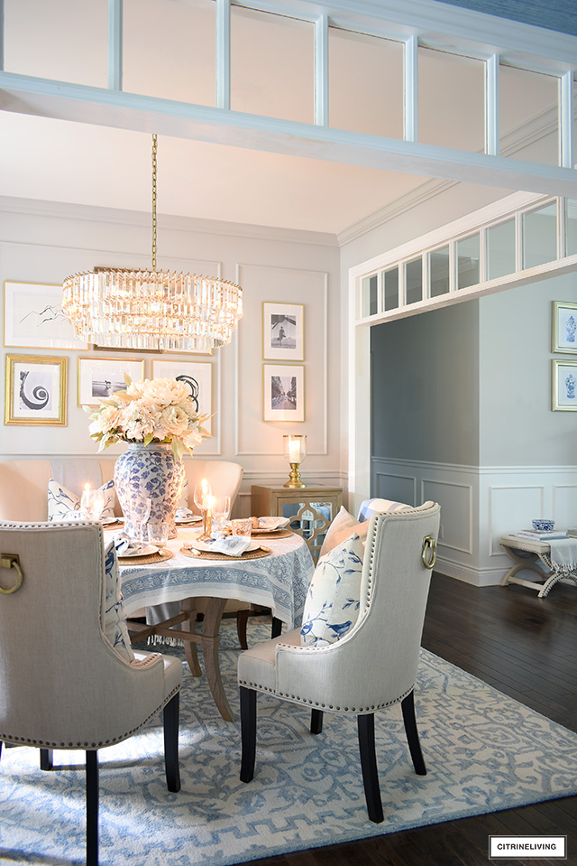 Fall dining room decor with blue and neutral accessories creates a gorgeous welcoming coastal look.
