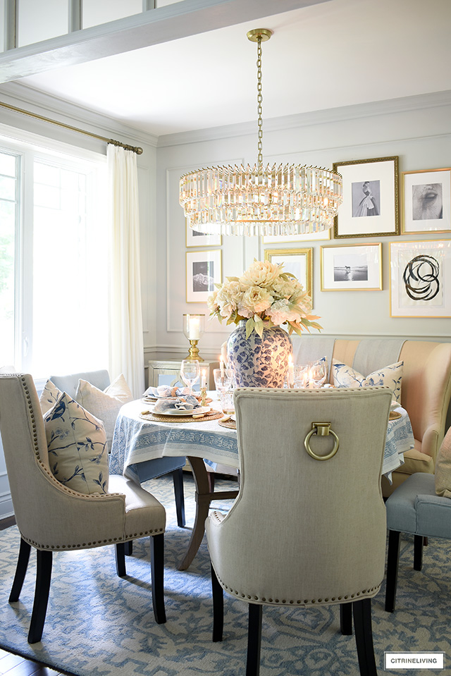 Dining room fall decor with beautiful blues and neutrals.