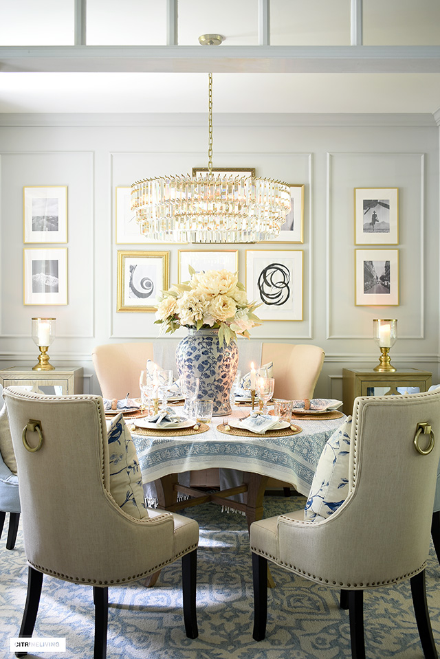 Fall dining room decor and tablescape with layers of soft blues and neutrals.