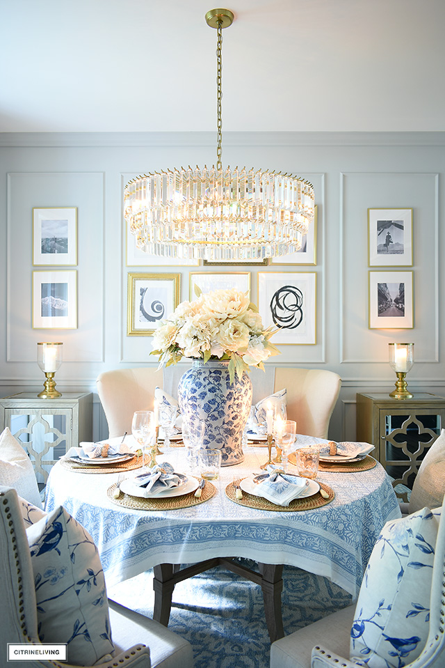 Fall dining room decor and table dressed in neutrals and soft blues.