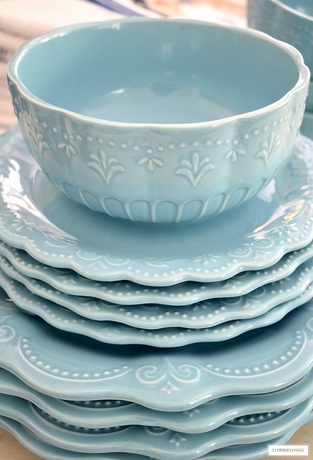 Pioneer Woman light blue dish set.