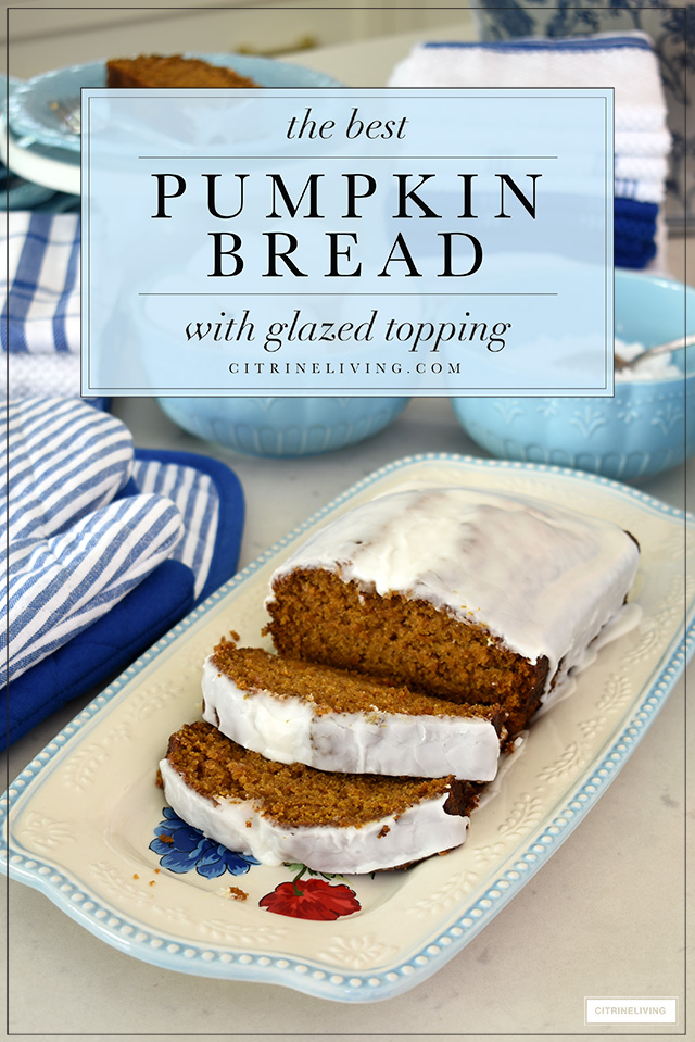Delicious and moist pumpkin bread with glazed topping