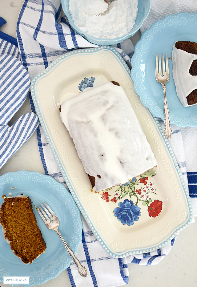Pioneer Woman Classic Charm platter with pumpkin loaf.
