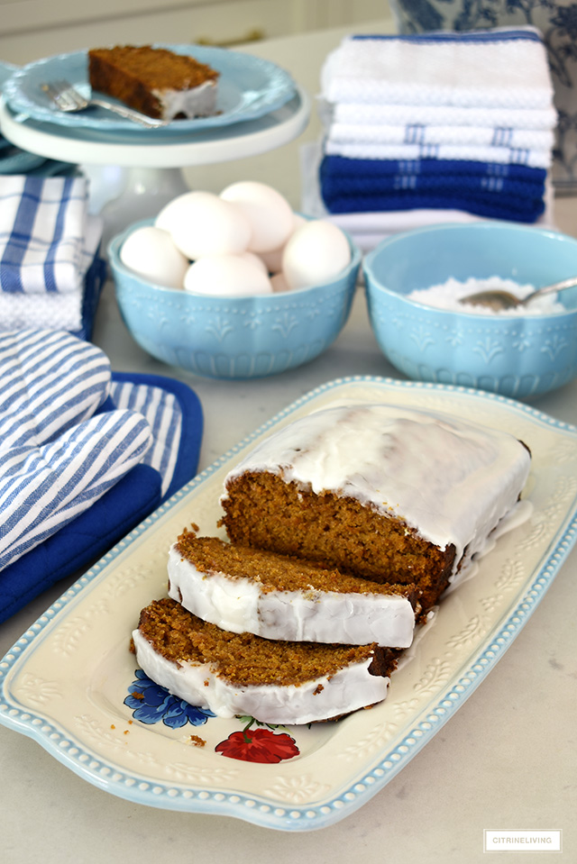 Blue dishes and platter with delicious pumpkin loaf.