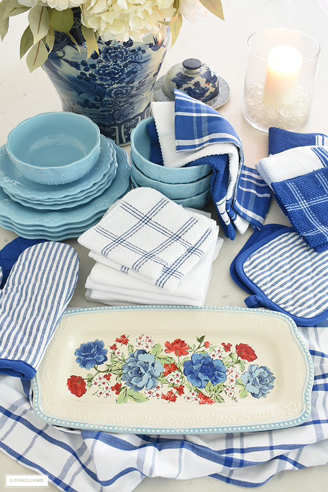 Pioneer Woman platter and dishes styled with coordinating dish towels.